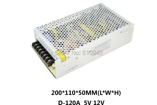 Free Shipping120W MINI Dual Output Switching power supply Output Voltage 5V 12V AC-DC D-120A<br><br>Aliexpress