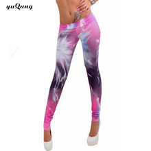 yuqung Women workout leggings galaxy space printed leggins girl rock punk legins fitness legging pants capris yuga Activewear(China)