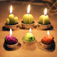6pcs/set Mini Cactus Candles For Birthday Wedding Decoration Home Decoration Artificial Green Plants Scented Candles V3641(China)