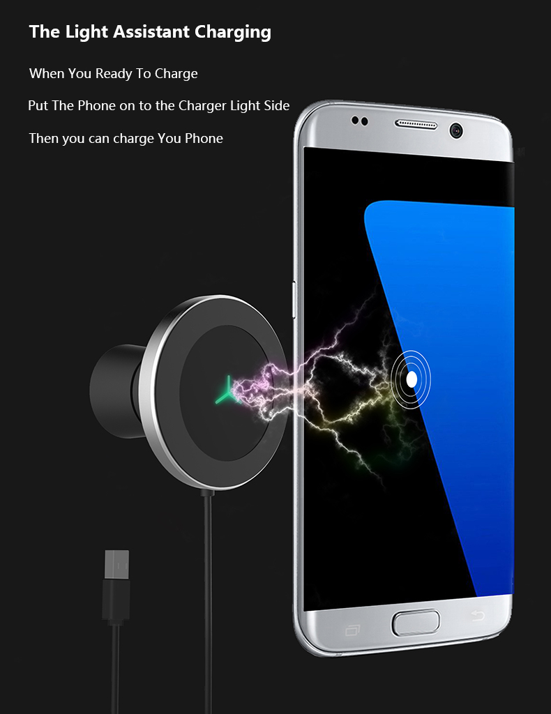 360 Degree Rotation Car Phone Wireless Charger For Samsung S8 S8 Plus S7 Edge Dashboard Wireless Charger Stands Air Vent Holder (11)