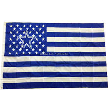 Hot Sell Hicollie 1Pc Dallas Cowboys USA flag with star and stripe 3*5 FT Banner NFL flag With Brass Grommets(China)