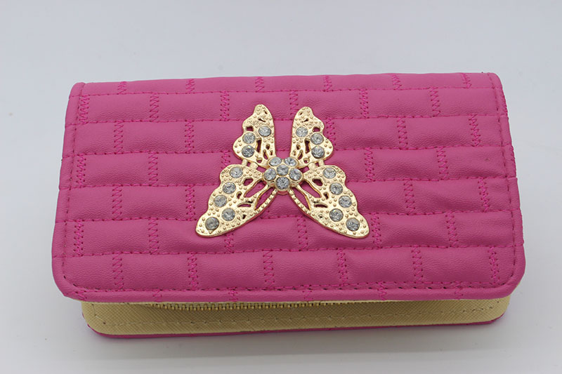 002 women wallets 16.5*10*4.5cm fashion Practical Quilted embroidery wallet phone package Bow metal lace multifunction wallet<br><br>Aliexpress