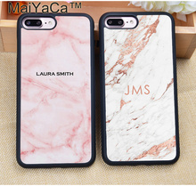 MaiYaCa PERSONALISED Initials NAME Monogram Marble Soft Rubber Phone Cases For iPhone 6 6S Plus 7 7S Plus 5 5S 5C SE 4 4S Cover