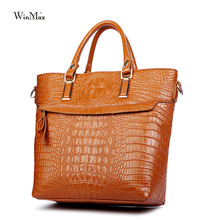 Women patent leather handbag 2016 women Alligator messenger bags large capacity famous designer top-handle business women bag