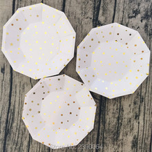 ON SALE!! 32pcs Paper Plates Star Gold Foil Plates Baby Shower Birthday Party Gold Foil Paper Plates Wedding Celebration(China)