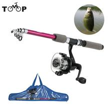 Stick Fishing Rod de Fibre Glass Carp Feeder Spinning Fishing Rod Set Reel for Sea Telescopic Pole With Kids' Fish Bag(China)