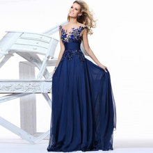 New Fashion Appliques Royal Blue Evening Dresses Long 2017 Sheer Back Evening Gowns Party Robe De Soiree Vestido De Festa Longo