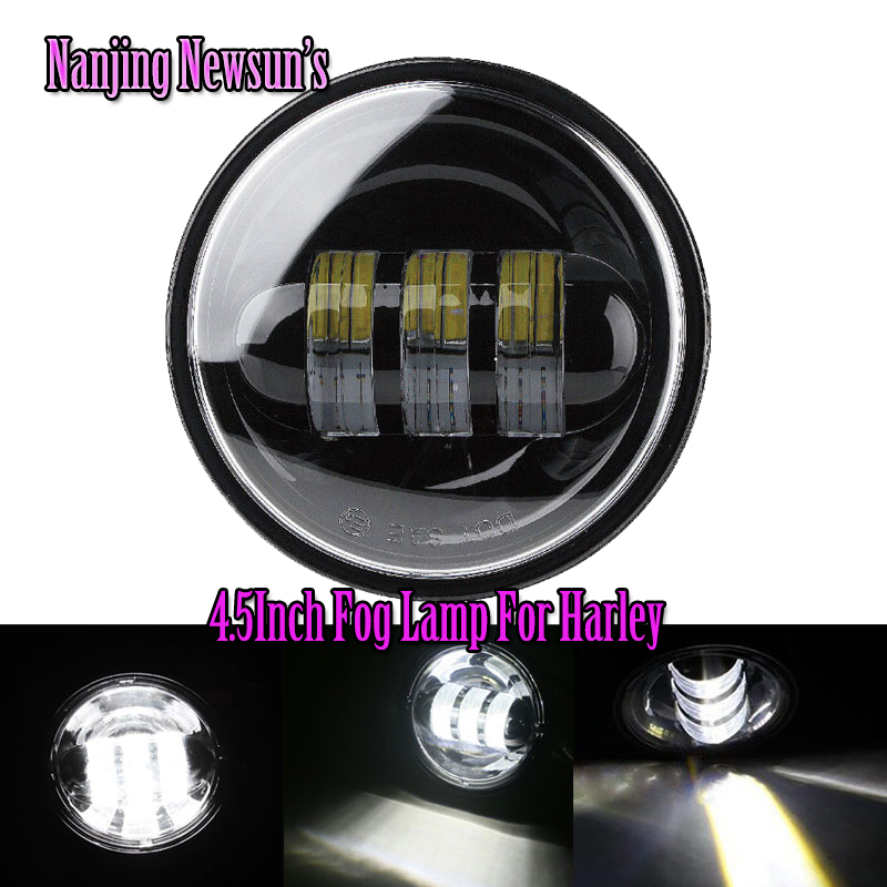 2x 4.5Inch 30W Auto Driving Fog Lamp Lights For Harley Davidson Motorcycles 4 1/2 Harley Motorcycle Fog Light IP68 Waterproof<br>