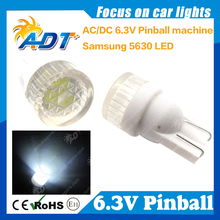 500pcs #555 T10 168 194 AC/DC 6.3V 5630SMD Flat Cap pinball led Light W5W for pinball game machine parts Non flicking anti ghost