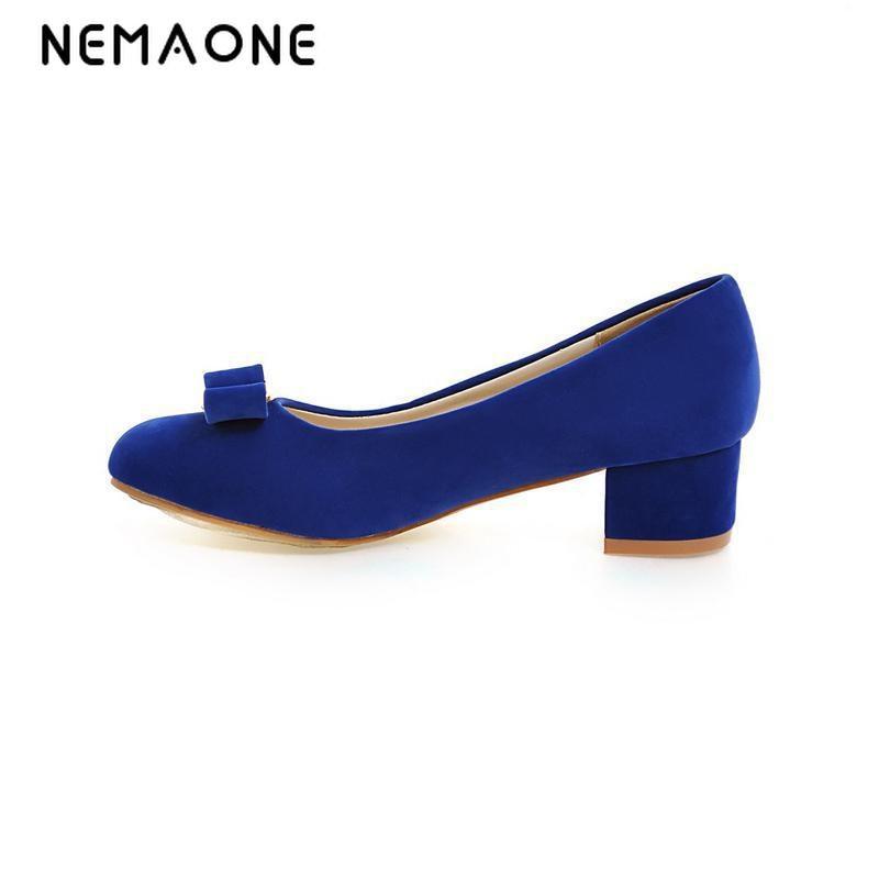 NEMAONE New spring autumn shoes women pumps rouned toe women shoes med heel shoes woman black blue apricot<br>