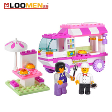Brand Pink Dream Snack Car Building Blocks Particles Bricks Girls Figure Toy Educational Compatible with Legoe Toys for Children