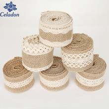 New Festival 2M Natural White Jute Edge Burlap Hessian Tape Rustic Ribbon With Trims Vintage Wedding Decoration Party
