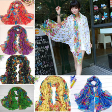 7 Colors Characteristic Soft Floral Print Voile Scarf Neck Stole Wrap Cozy Scarf New