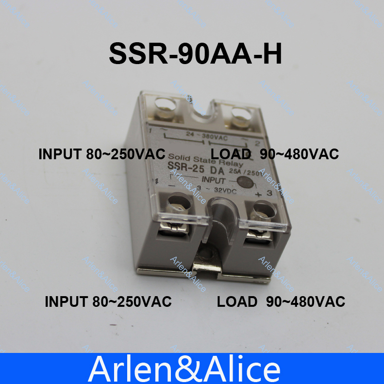 90AA SSR 90AA-H High voltage type input 80-250V AC load 24-380V AC single phase AC solid state relay<br><br>Aliexpress