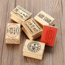6pcs/set Retro Vintage DIY Cute Wooden Rubber Stamp Set for Diary Scrapbooking Decoration Craft for Children Gifts 6 Pattens