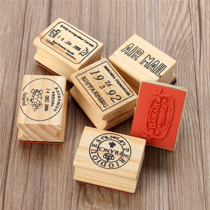 6pcs/set Retro Vintage DIY Cute Wooden Rubber Stamp Set for Diary Scrapbooking Decoration Craft for Children Gifts 6 Pattens<br><br>Aliexpress