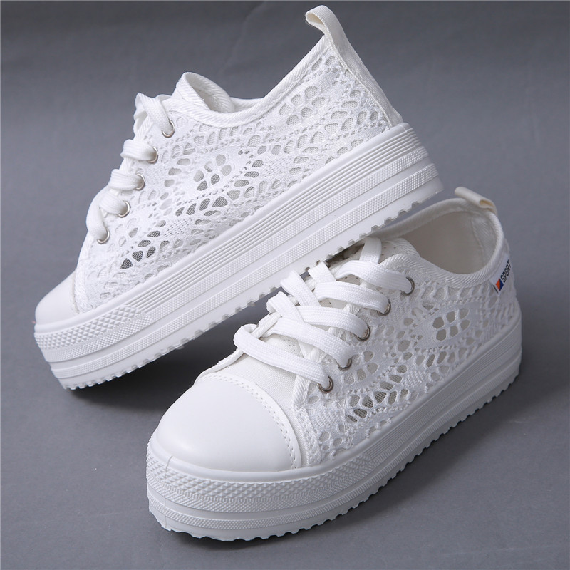 Womens High Fashionable Platform Floral Lace Cutouts Design Breathable Canvas
