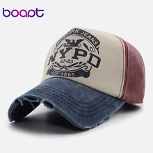 [boapt] ripped scratched vintage spliced letter pattern print snapback women's caps summer baseball cap retro hat for men's hats(China)