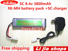 1pcs SC 8.4v 3800mah NiMH recargable battery Pack + 1pcs SC 1.2V-12V charger(China)