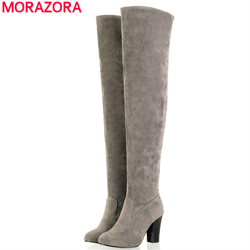 MORAZORA Big size 34-45 2017 Women Boots Thick High Heel Over the Knee High Boots Autumn Winter Boots Fashion Thigh High shoes<br><br>Aliexpress