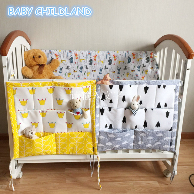 Muslin Tree Baby Cot Bed Hanging Storage Bag Crib Organizer 60 50cm Toy Diaper Pocket