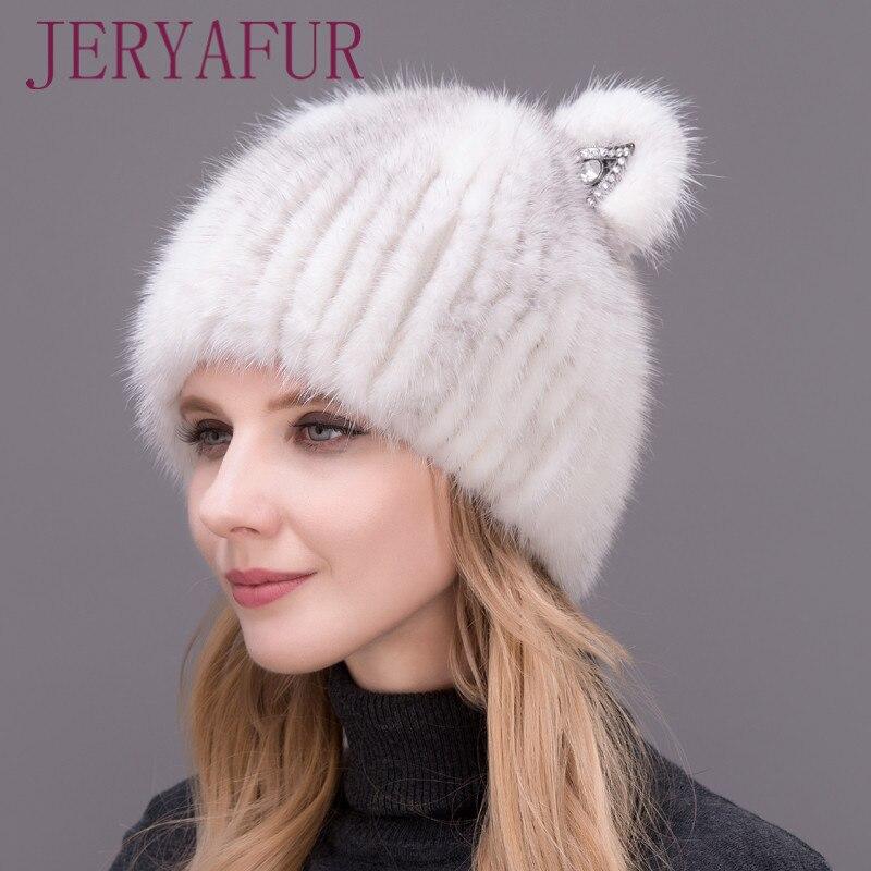 2017 New Mink Cat Ear Cap For Women And Girls, Warm And Lovely, Attractive Popular Hat Without Fox Fur, Vertical Weaving.Îäåæäà è àêñåññóàðû<br><br>