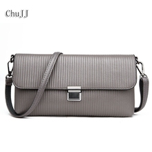 Women's Genuine Leather Handbags Small Day Clutches Thread Shoulder CrossBody Bags Ladies Casual Messenger Bag Flap Women Bags