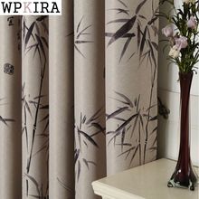 Bamboo Curtains of Modern Chinese Style Bedroom Livingroom Printed Polyester Curtain Window Curtains S027&30