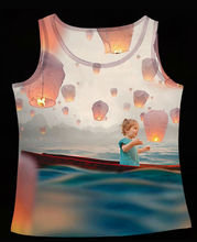Track Ship+Fresh Vest Tank Tanks Camis Tops Top Little Girl on Boat at Sea Around with Kongming Sky Lantern 0737(Hong Kong)