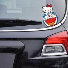 Aliauto Car-Styling Hello Kitty And DORAEMON Funny Car Sticker Cute Decal Accessories For Volkswagen Ford Focus Renault Toyota(China)