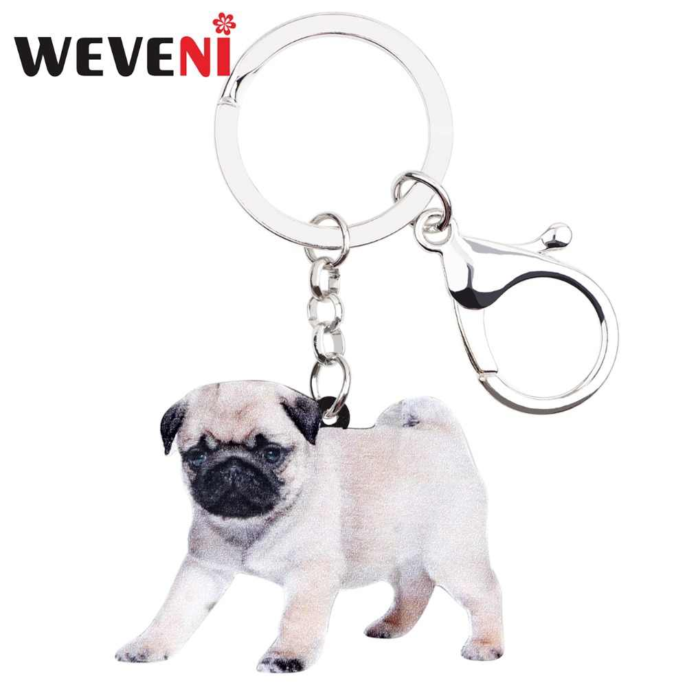 4993c63e4bf WEVENI Acrylic French Bulldog Pug Dog Key Chains Keychains Rings Cute  Animal Jewelry For Women Girls