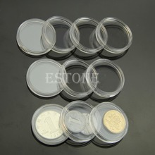 28mm Round Plastic Applied Clear Round Cases Coin Storage Capsules Holder MAY8