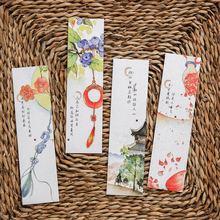 Vintage Chinese Style Ancient poetry Bookmark flower Ink painting bookmarks School Office Stationery Supplies Gifts 1 Set(30PCs)(China)
