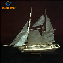 LeadingStar 1:100 Scale Wooden Wood Sailboat Ship Kits Home DIY Model Home Decoration Boat Gift Toy for Kids zk40(China)