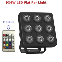 Newest Led Show Panel Flat Par Light 9X4W RGBW/RGBUV 4IN1 DMX Stage Effect Lights Business Lights High Power Light Fast Shipping