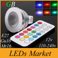 Energy Saving 5W RGB GU10 E27 MR16 E14 LED Bulb Lamp Spot light 16 Colors changing Memory Function Spotlight + IR Remote control
