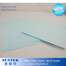 A4 Size 50 Sheets Blue Based Paper Clear Film Inkjet Water Slide Decal Papel Transfert Printing Paper for White Ink Printer(China)
