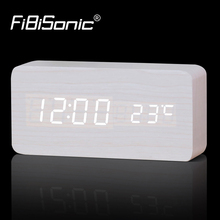 Large Size Wooden Alarm Clocks with Thermometer Rectangle Table Clocks Big Numbers Digital Clock Classic LED Wooden Clocks