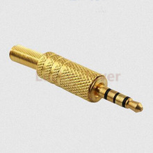 6pcs Good Promotion High Quality Golden 3.5mm 4 Pole Male Repair Headphones Audio Jack Plug Connector Soldering