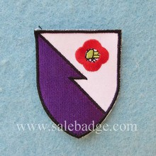 Custom White and Purple With Red Flowers Logo Embroidery Patches