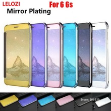 LELOZI Plating Clear View Hard PC Thin Flip Mirror Miror Phone Fundas Etui Case capa Capinha For iPhone 6 6s Rose Black Cheap
