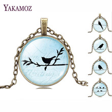 Vintage Bronze Chain Choker Necklaces Cute Black Bird Pendant Necklaces  Blue Glass Cabochon Fashion Fine Jewelry For Women 2017