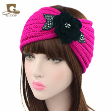 NEW Women Crochet Headband Knit Hairband black beaded Flower Winter Ear Warmer Head Wrap