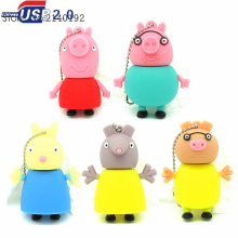 2016 new pink pig family series usb flash drive cartoon pen drive 4GB 8GB 16GB 32GB  memory stick U disk lanyard real capacity
