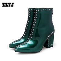 ZZYJ women's Studded boots sexy thick heel women's motorcycle boots patent leather Knight boots ladies' shoes bootie C8008