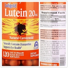 Lutigold Lutein with Zeaxanthin 20 mg * 120 Caps, Natural Plant support eye health(China)