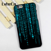 LvheCn phone case cover fit for iPhone 4 4s 5 5s 5c SE 6 6s 7 8 plus X ipod touch 4 5 6 back skins Binary Matrix Code Protector(China)