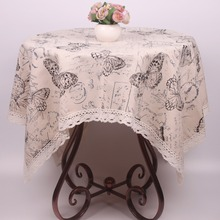 Beige Cotton Linen Words Stamps Butterfly Dustproof Table Covers Tough Durable Lace Tablecloth for Tea Coffee Tables