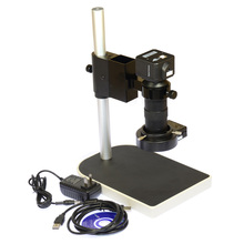 5.0MP USB Camera Kit Industrial Microscope Camera 100X Zoom Lens C mount 40 LED Light Source Table Stand