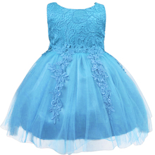 Princess Party Dress for Girls Infant Lace Children Bridesmaid Kids Tutu Birthday Dress Blue Purple